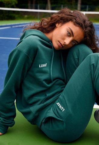 Hoodie sweatsuit with pants - M, Green